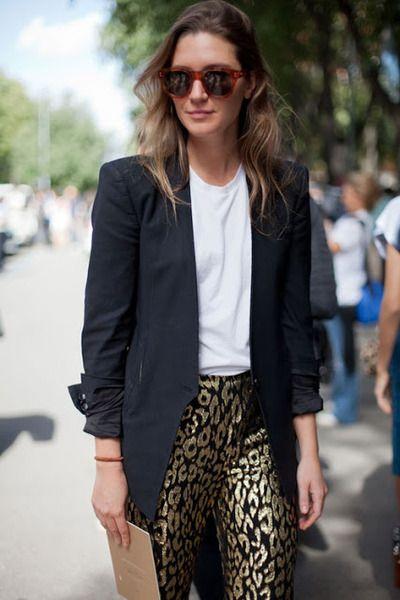 Black jacket and print pant