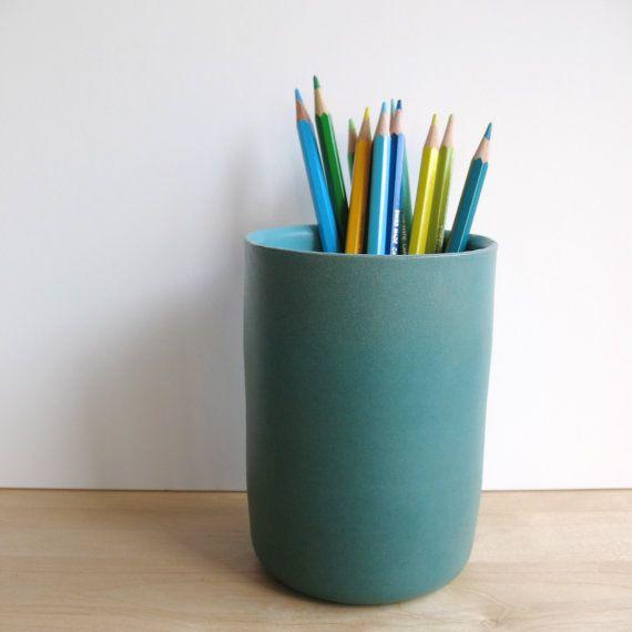... vase - back to school - turquoise matt enamel - pencil holder