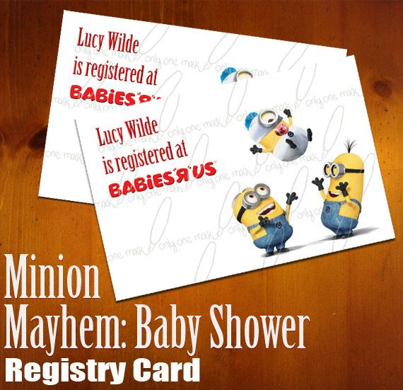 care of that with their minion mayhem baby shower registry cards