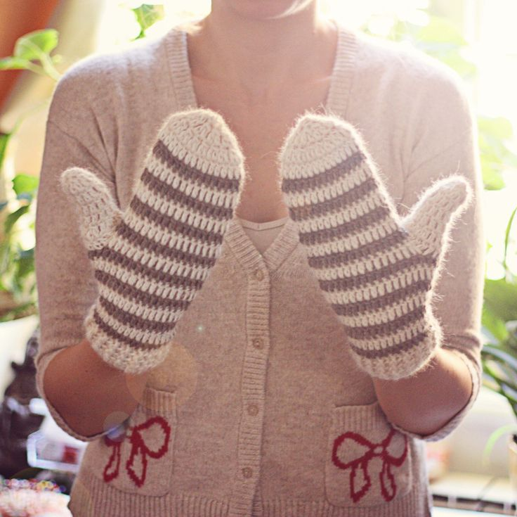 Crochet PATTERN for mittens (pdf file) - Striped Mittens (adult, teen ...