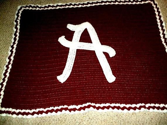 Crochet Patterns Alabama Football : Afghan Alabama Team Blanket Crochet Afghan Multicolor by LovieLeos, $ ...