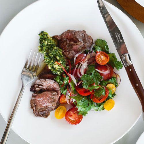 steak chimchirri with salad | Chargrilled hanger steak with ...