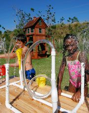 Sprinkler fun! The kids can change the way the water flows through - very cool.
