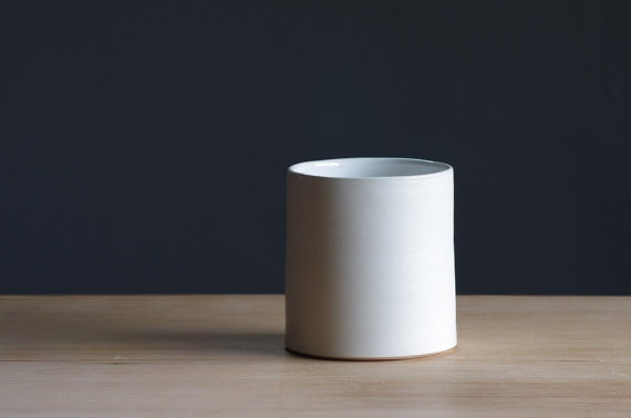 white on white porcelain tall cup by by vitrifiedstudio