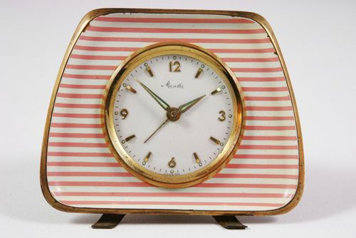 vintage pink Mauthe clock c. 1950s