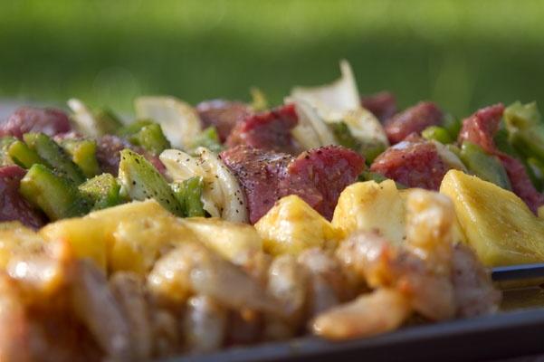 Bourbon Pineapple Glazed Steak and Shrimp Skewers