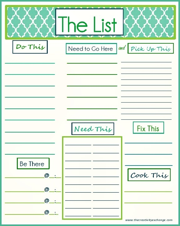 ... used as a weekly or daily list The Creativity Exchange free-printables