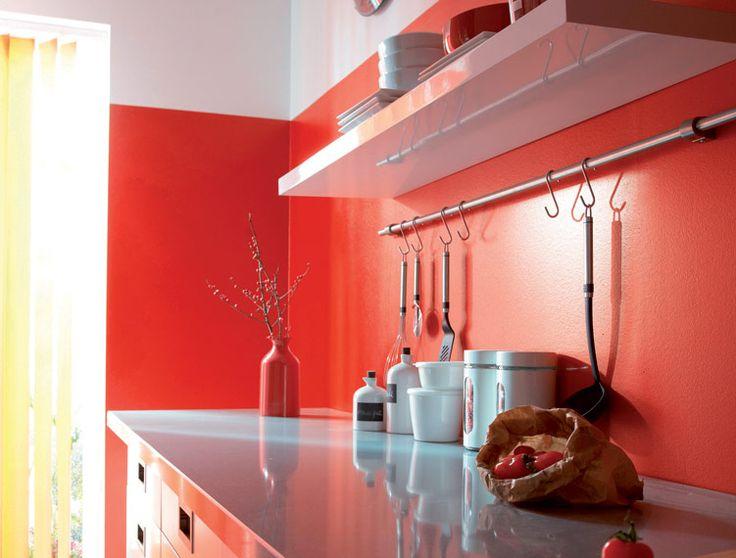 Beautiful Cuisine Rouge Peinture Mur Ideas - Design Trends 2017 ...