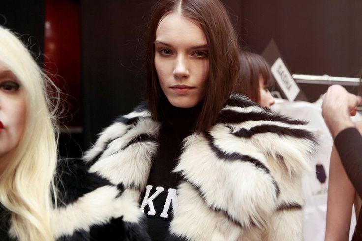 Monochrome fur coat at DKNY AW14 NYFW. More images at: http://www.dazeddigital.com/fashionweek/womenswear/aw14