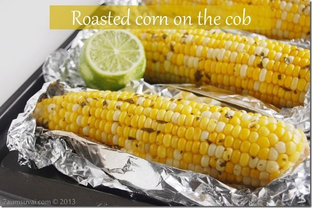Roasted corn on the cob with cilantro lime butter. I substituted a bit ...
