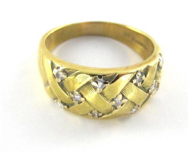 Vintage Mens Diamond Wedding Ring Solid 18K White Gold Estate 1950 39 S Imag