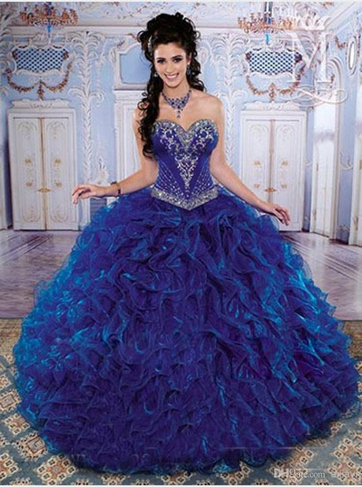 Wholesale Quinceanera Dresses - Buy Hot ! New 2014 Fashionable Sweetheart Neck Beaded Organza Sweep 2014 Sweet 15 Royal Blue Quinceanera Dresses Prom Dresses, $113.09  DHgate