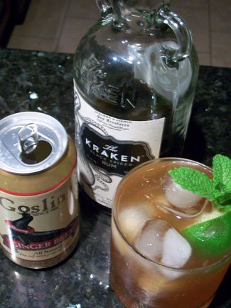 The Perfect Storm Cocktail Kraken Rum and Ginger Beer. Cheers!