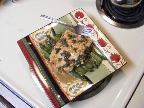Grilled salmon with grilled asparagus with a lime/butter/caper sauce ...