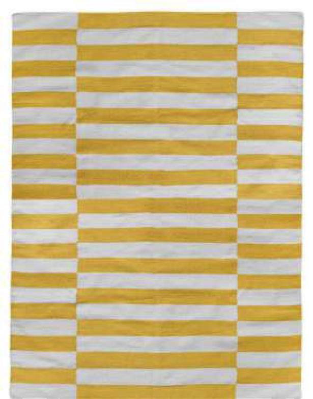 Milk and Sugar Woven Floor Rugs-Broad Stripe Yellow