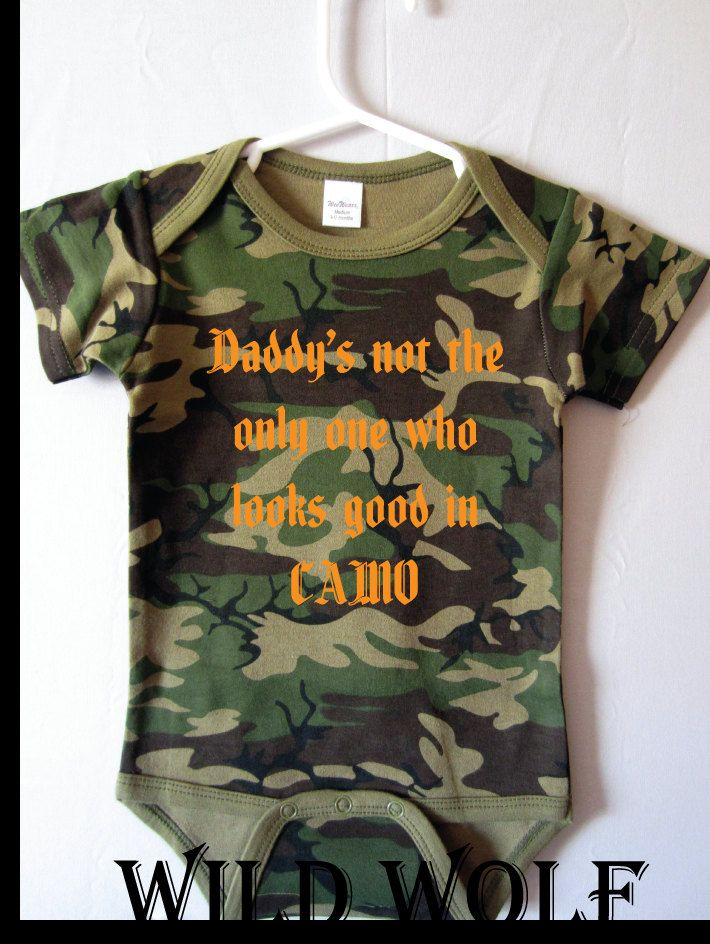 Baby boy onesie daddys not the only one green camo baby