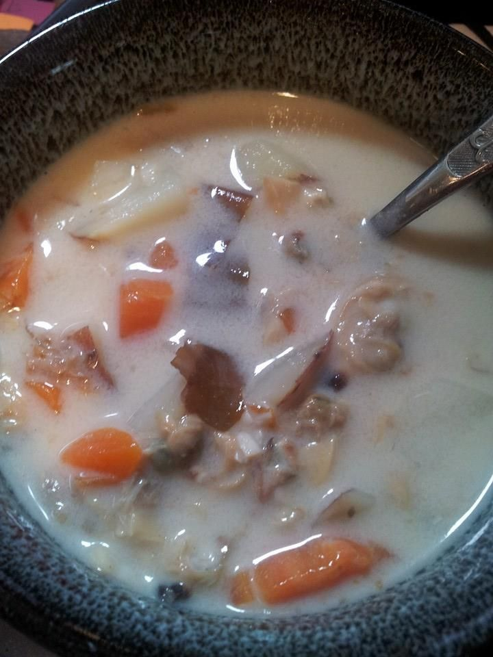 Georginas clam chowder made with seaweed and almond milk mixed with a ...