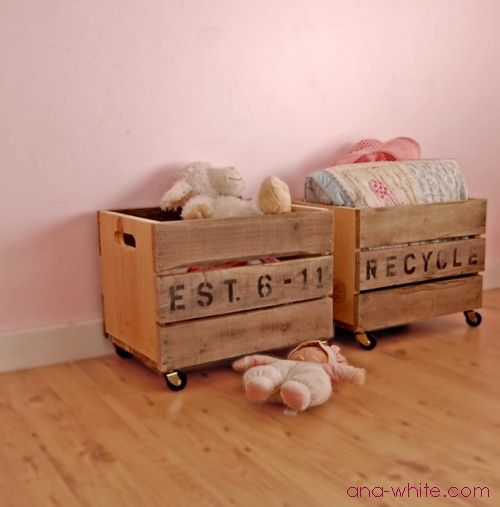 toy bins on wheels - made from old pallets.
