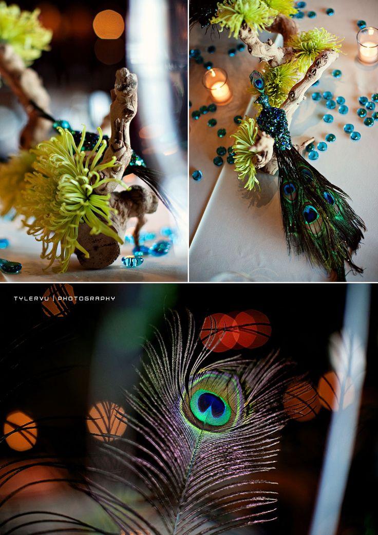 Peacock centerpiece wedding shtuffs pinterest - Peacock arrangements weddings ...