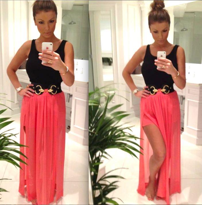 pink maxi skirt and black tank top.