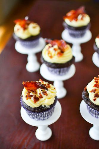 Chocolate beer bacon cupcake...Ive died and gone to heaven.