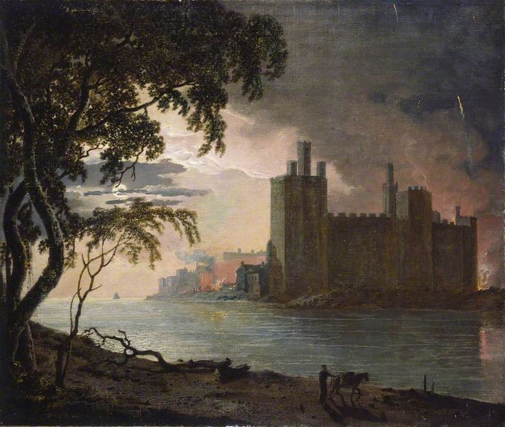 caernarvon castle by moonlight - joseph wright