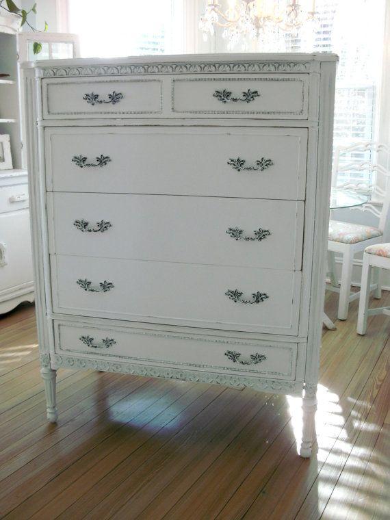 Antique Tall White Dresser Shabby Chic Furniture
