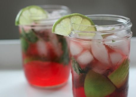 Pomegranate Mojitos 20 mint leaves 1 lime, cut into 8 wedges 2 ...