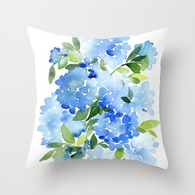 Blue Hydrangea Throw Pillow : Blue Hydrangea Throw Pillow For the Home Pinterest
