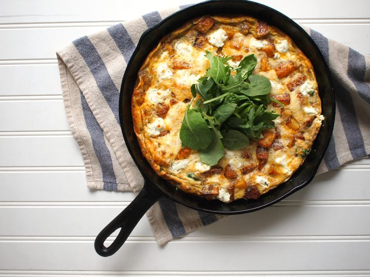 Roasted Potato, Greens, and Goat Cheese Frittata