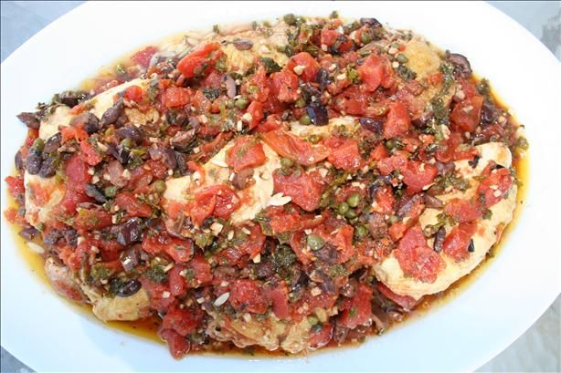 Chicken Thighs With Tomatoes, Olives and Capers | Recipe