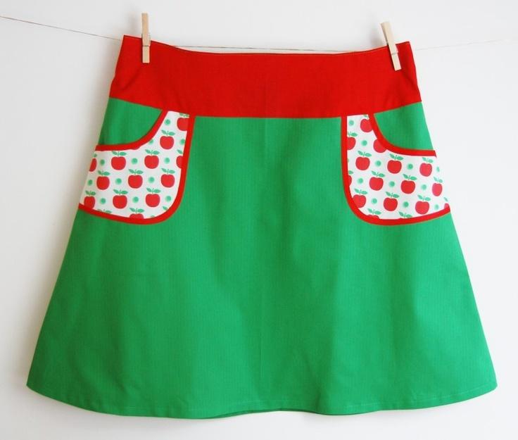 Hipskirt women green with apple pockets, size XXL/44