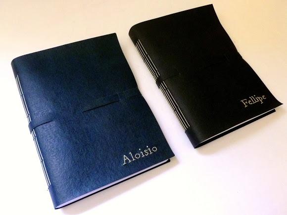 cadernos personalizados, capas em recouro bordado