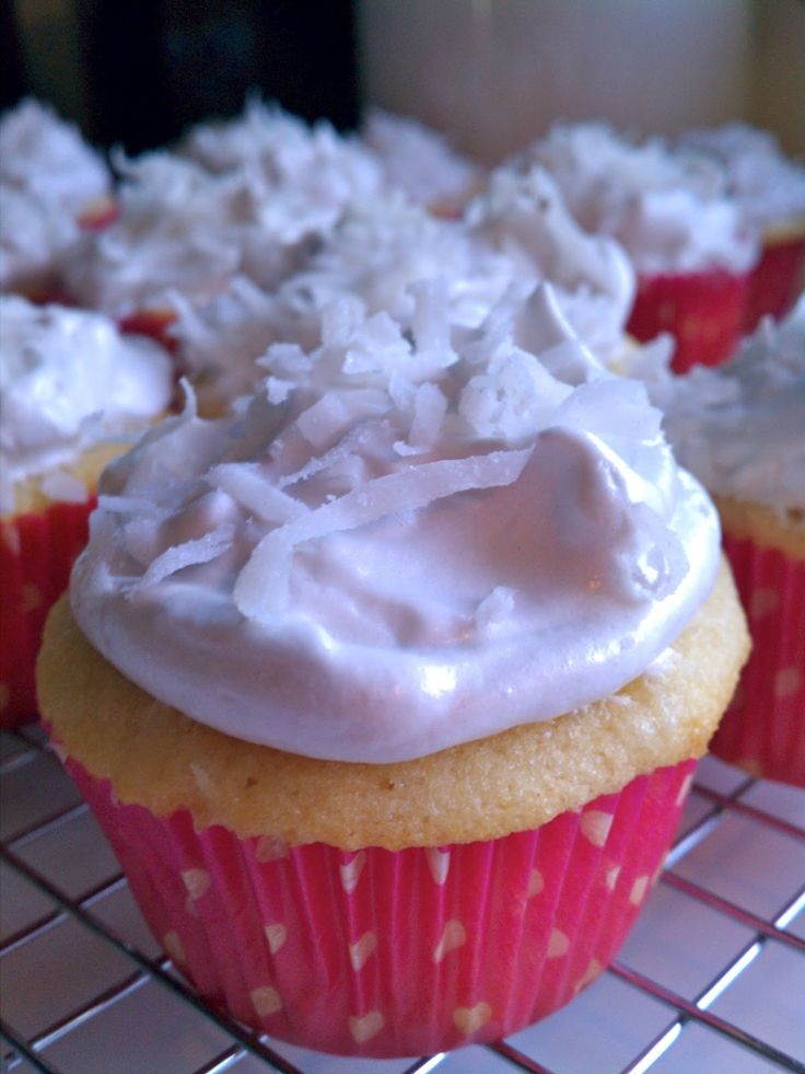 coconut cupcakes with easy seven minute frosting