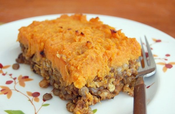 Vegetarian Shepherd's Pie with Lentils, Mushrooms, and Sweet Potato