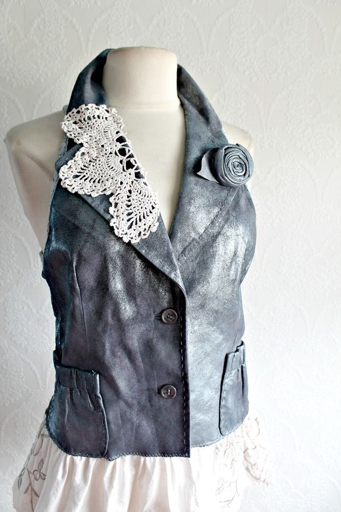 Leather Vest Shabby Chic Women's Clothing Upcycled Reconstructed M