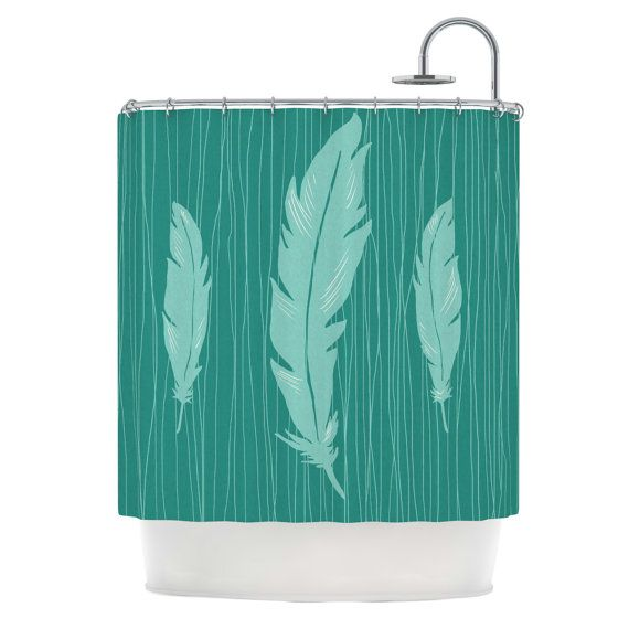 Shower Curtain Feathers Jaidyn Erickson by KessInHouse on Etsy, $79.00