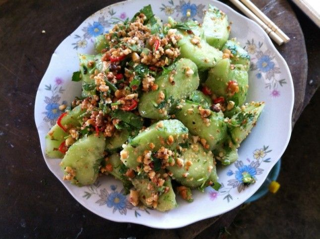 Dai-Style Cucumber with Herbs and Peanuts | Bon Appetit | Pinterest