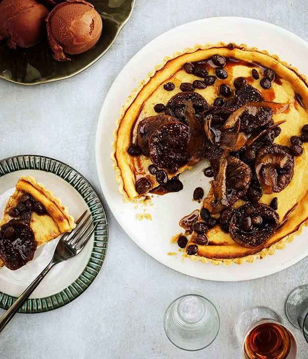 Ricotta Crostata with Marsala-Soaked Figs and Chocolate Gelato