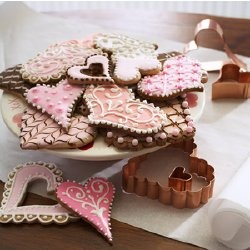Chocolate sugar cookies decorated for valentines