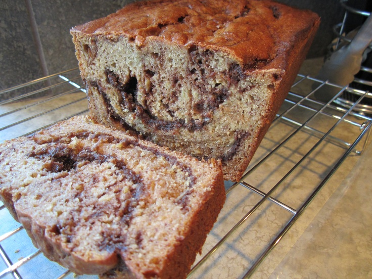 Nutella swirled banana Bread. I tweaked the recipe a little to get ...