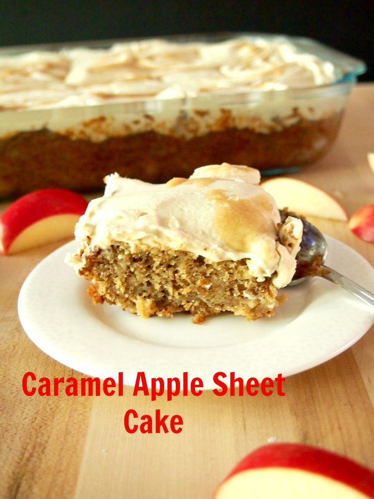 Caramel Apple Sheet Cake #SundaySupper | Recipe