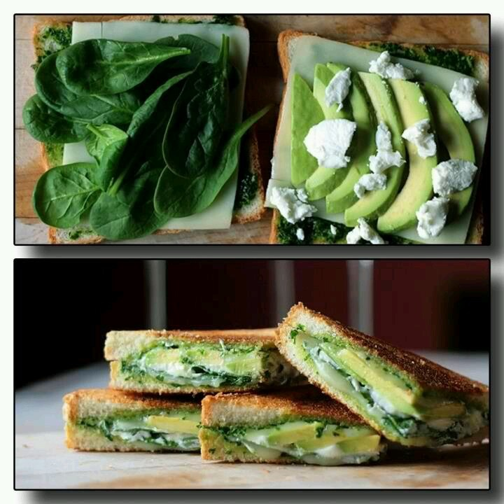 Grilled avocado spinach pesto and cheese sandwich, yummy!!!!! And ...