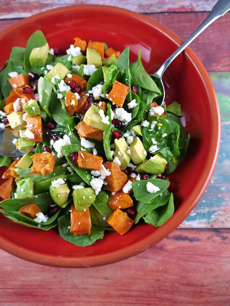 Spinach Salad with Roasted Sweet Potatoes and Pomegranate Seeds