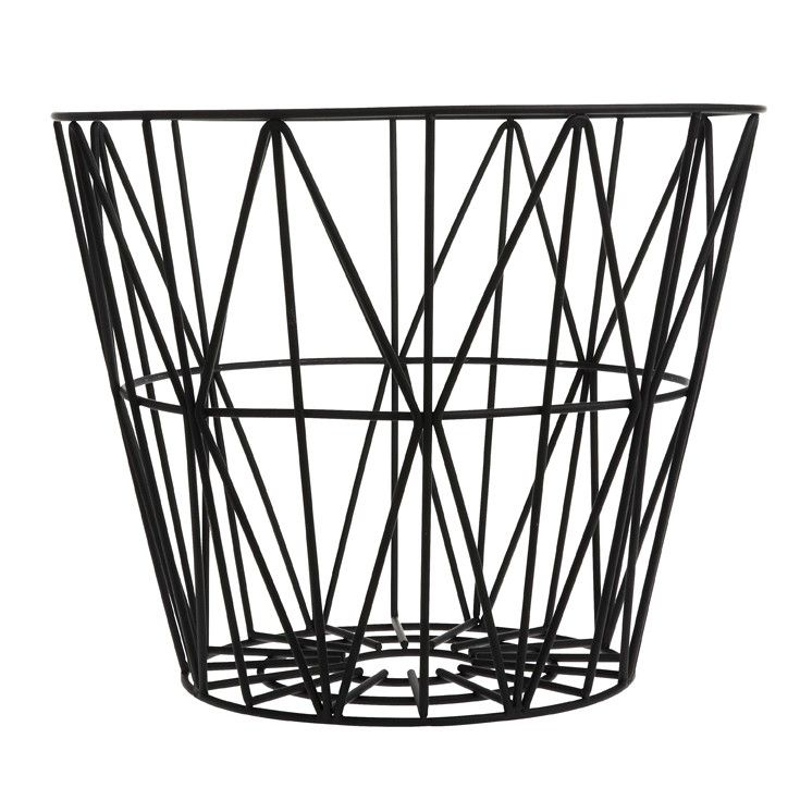 wire basket small black interior pinterest. Black Bedroom Furniture Sets. Home Design Ideas