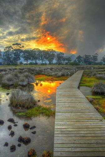 Sunset at Knysna Lagoon, South Africa.