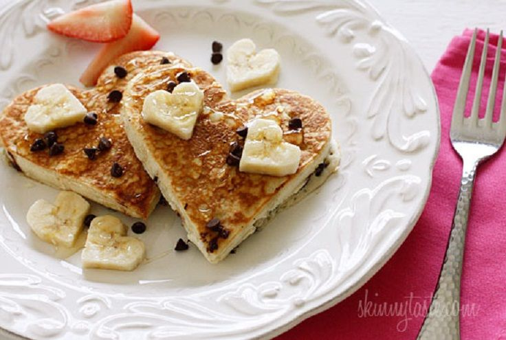 Heart-Shaped #Chocolate #Chip #Banana #Pancakes All #Yummy #Recipes
