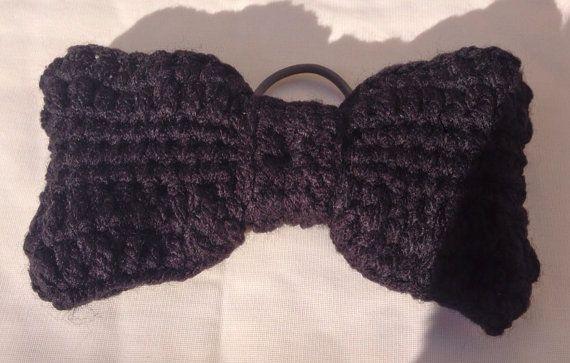 Crochet Hair Elastic : Black crochet hair bow on grey hair elastic by Beclis on Etsy, ?5.00