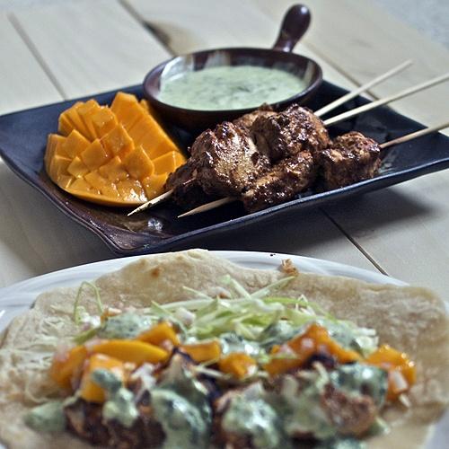 Grilled halibut tikka tacos with mango salsa and cilantro garlic ...