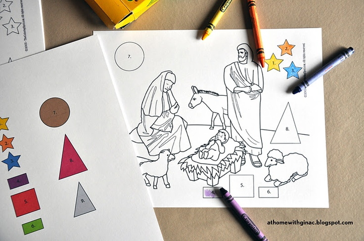 Nativity Scene Pre-K Christmas Coloring Sheet